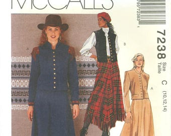 1994 Misses' Western Jacket, Vest and Skirt With Handkerchief Hem UC FF Size 10, 12, 14 - McCall's McC Old West Brand Sewing Pattern 7238