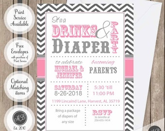 Couples baby shower invitation, Drinks and Diaper Pink co-ed baby shower invitation, couples girl baby shower invitation, printable invite
