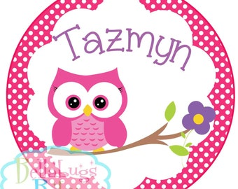 Owl Personalized IRON ON TRANSFER- Personalized Name Spring Pastels - Girl