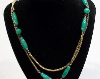 Green Art Glass Necklace Handblown Beads