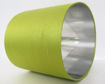 Absinthe Green Silk and Silver Lampshade