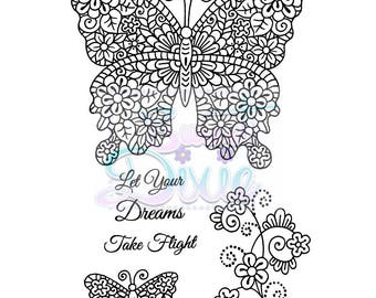 Flights of Fantasy A6 clear stamp set - Sweet Dixie