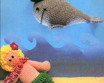 PDF Vintage Crochet Patterns Sealife Friends Loopy Tail Mermaid Doll and Whale with Hat Instant Digital Download 1970s Amigurumi Plush Toys
