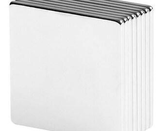 1 x 1 x 1/16 inch Neodymium Rare Earth Block Magnets N42 (8 Pack)
