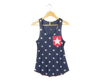 SAMPLE SALE Starry Pocket Tank - Racerback Scoop Neck Swing Tank Top in Navy White Stars and Stripes - Women's Size L