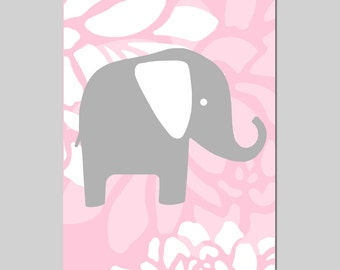 Floral Elephant Nursery Art - 11x17 Print - CHOOSE YOUR COLORS - Shown in Light PInk, Gray, Yellow and More