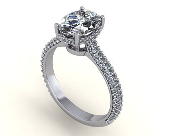 oval moissanite 9x7mm engagement ring with diamonds, style 173WDM