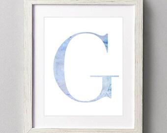 Letter G | Nursery Print | Nursery Art | Alphabet | Instant Download | Digital Print | Wall Art | Baby Boy | Initials | Blue | Watercolor