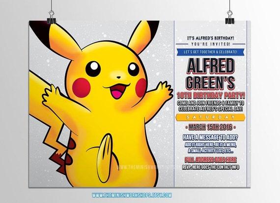 pokemon pikachu geburtstagseinladungen kinder