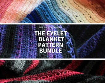Crochet Blanket Pattern bundle of 3, 3 Crochet blanket patterns, Easy crochet, beginner patterns