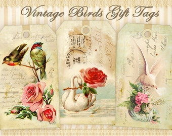 Vintage bird gift tags Printable digital tags on Digital collage sheet Vintage images Printable download