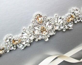 Champagne Swarovski crystal bridal belt, Crystal belt in silver or gold, Wedding belt, Waist sash, Swarovski belt, Rhinestone bridal belt