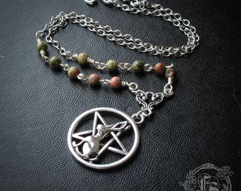 Hare Pentagram Necklace with Unakite. The Isobel Gowdie.