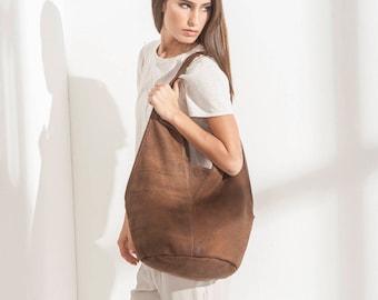 Chocolate Brown Leather Tote Bag, Brown Leather Hobo Bag, Hobo Shoulder Bag, Big Shoulder Bag, Gift for Women, Unique Gifts  - Charley bag