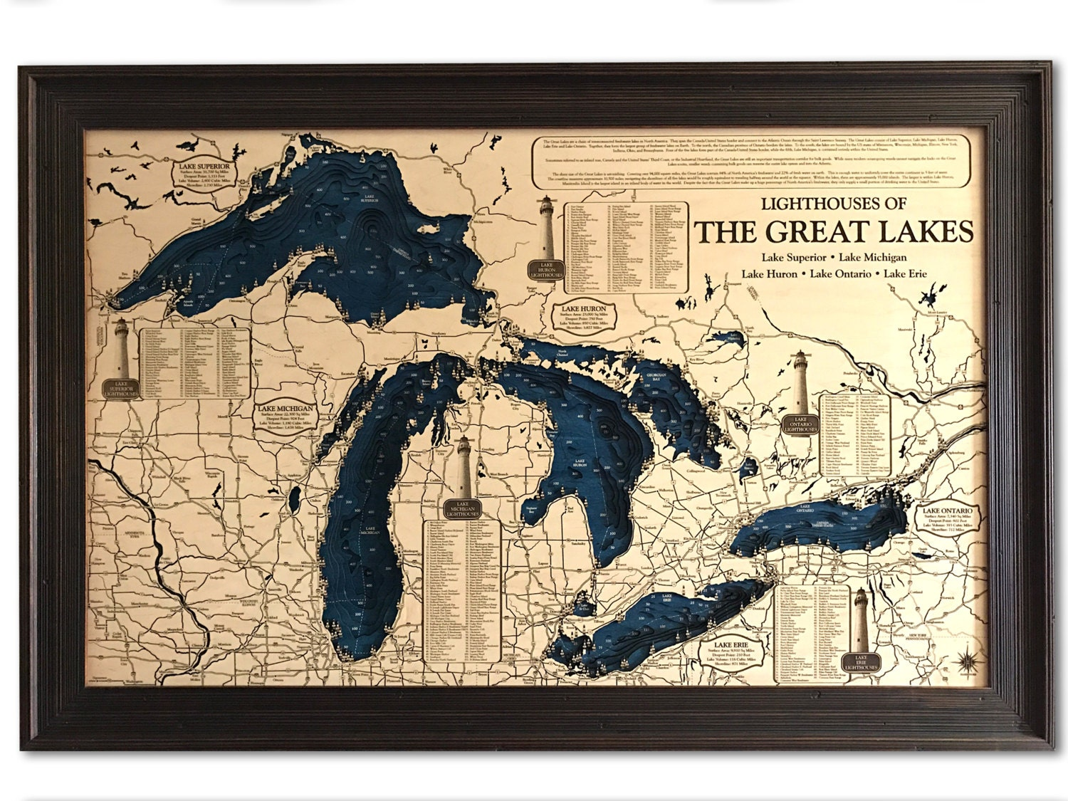 Great Lakes Lighthouse 3D Wood Carved Depth Contour Map