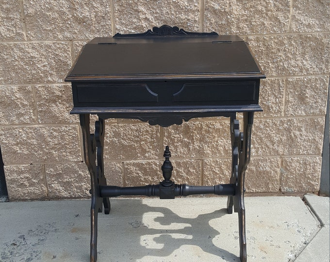 Pick Up Only Vintage Secretary Cabinet Shabby Chic, Black ornate desk, Storage, Distressed laptop desk, work station country cottage rustic