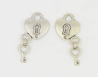 Heart Lock Charms Silver Heart Charms Keyhole Charms Heart Lock and Key Charms Silver Lock Charms Silver Keyhole Charms Steampunk Charms 50