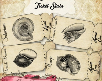 Seashell Ticket Strips, Vintage Beach Tickets, Beach Party, Printable Tickets, Vintage Seashells, INSTANT DOWNLOAD