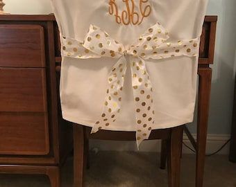 Desk Chair Covers Off White Monogrammed Dorm Back Cover Personalized