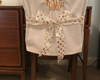 Desk Chair Covers/Off White Monogrammed Dorm Chair Back Cover /  Personalized Chair Cover /