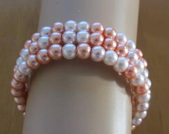 Multi layered glass pearl bracelet-Peach Memory wired  beaded bracelet-pearl cuff bracelet-pearl bangle-3 tier beaded bracelet- BOHO style