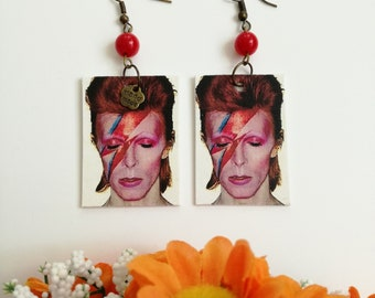 David Bowie paper earrings with red bead