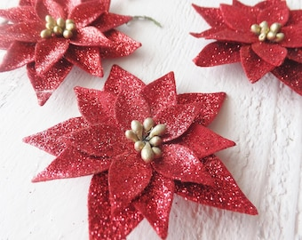 """Red Glitter Poinsettias Holiday Crafts ~ 2.5"""" set of 6 ~ Christmas Card Embellishments ~ Vintage Style ~ Ornaments"""