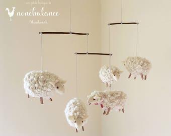 White Sheep Mobile,Baby Mobile Sheep,Natural Nursery Sheep