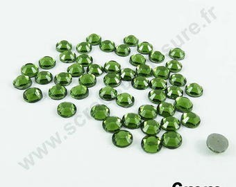Rhinestone Thermo - OLIVE green - 6mm - x 25 PCs