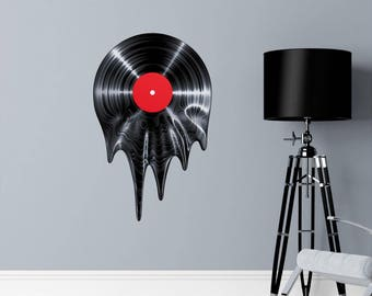 Fathers Day Gift, Melting Vinyl Record Wall Decal, Music Wall Decal, Retro Wall Decal, Gift for Her, Gift for Him