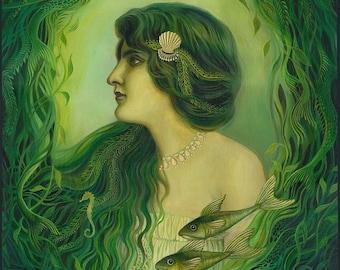 The Nereid 11x14 Fine Art Print Mermaid Mythology Art Nouveau Ocean Goddess Art
