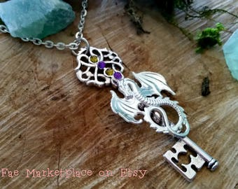 Mythical Dragon Key Pendant (with Chain)