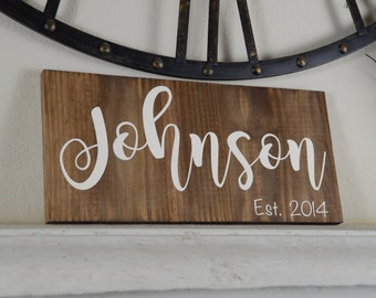 Custom Name Sign -  Last Name Wood Sign - Personalized Wood Sign - Rustic Decor - Wedding Gift - Anniversary Gift - Wedding Decor