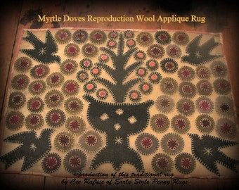 Myrtle Doves Reproduction Wool Applique Rug, printed pattern