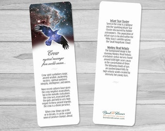 Cosmic Crow Spirit Animal Descriptive Bookmark ~ crow bookmark ~ Astronomy ~ crow lovers ~ night sky ~ readers ~ writers