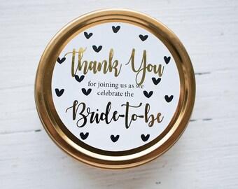 Gold Foil Bridal Shower Favor Filled with Tea
