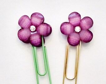 Planner Paperclip Clip Bookmark Page Clip Planner Accessories  Purple Flower Rhinestone