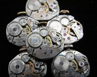 6 Vintage Watch Movements Parts Steampunk Altered Art Assemblage TM 44