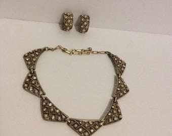 Vintage Rhinestone And Imitation Pearl Choker With Clip On Earrings
