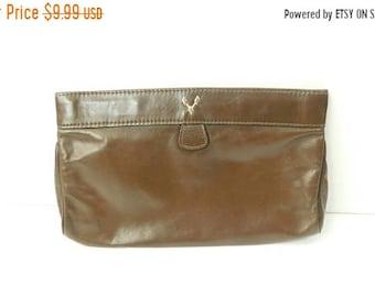 30% SPRING SALE Vintage 1980s 80s Dark Brown Leather Minimal Silver Tone Handbag Purse Bag Clutch Organizer Storage Fashion Accessory