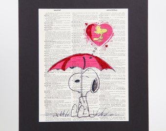 Snoopy Vintage Dictionary Page Art Print |Wall Decor| Snoopy Artwork with Sparks of Glitter 11''X14'' Mat