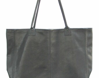 Black Italian Leather Large Tote Carry-on with Inside Pockets