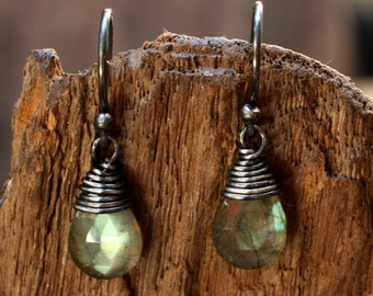Faceted labradorite drops earrings with oxidized silver wire on sterling silver oxidized hook style(FBA)