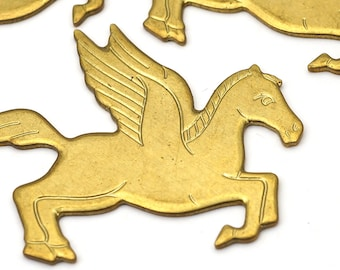 3 pcs vintage brass Pegasus stampings, flat thick heavy gauge winged horses, Greek mythology 46mm
