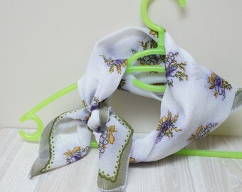 Flower Scarf Shawl medium polyester nylon made in Soviet union USSR Russian Europe Retro white purple brown violets vintage square 1970