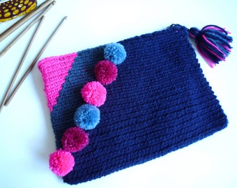 Crocheted pouch and lined with waterproof fabric