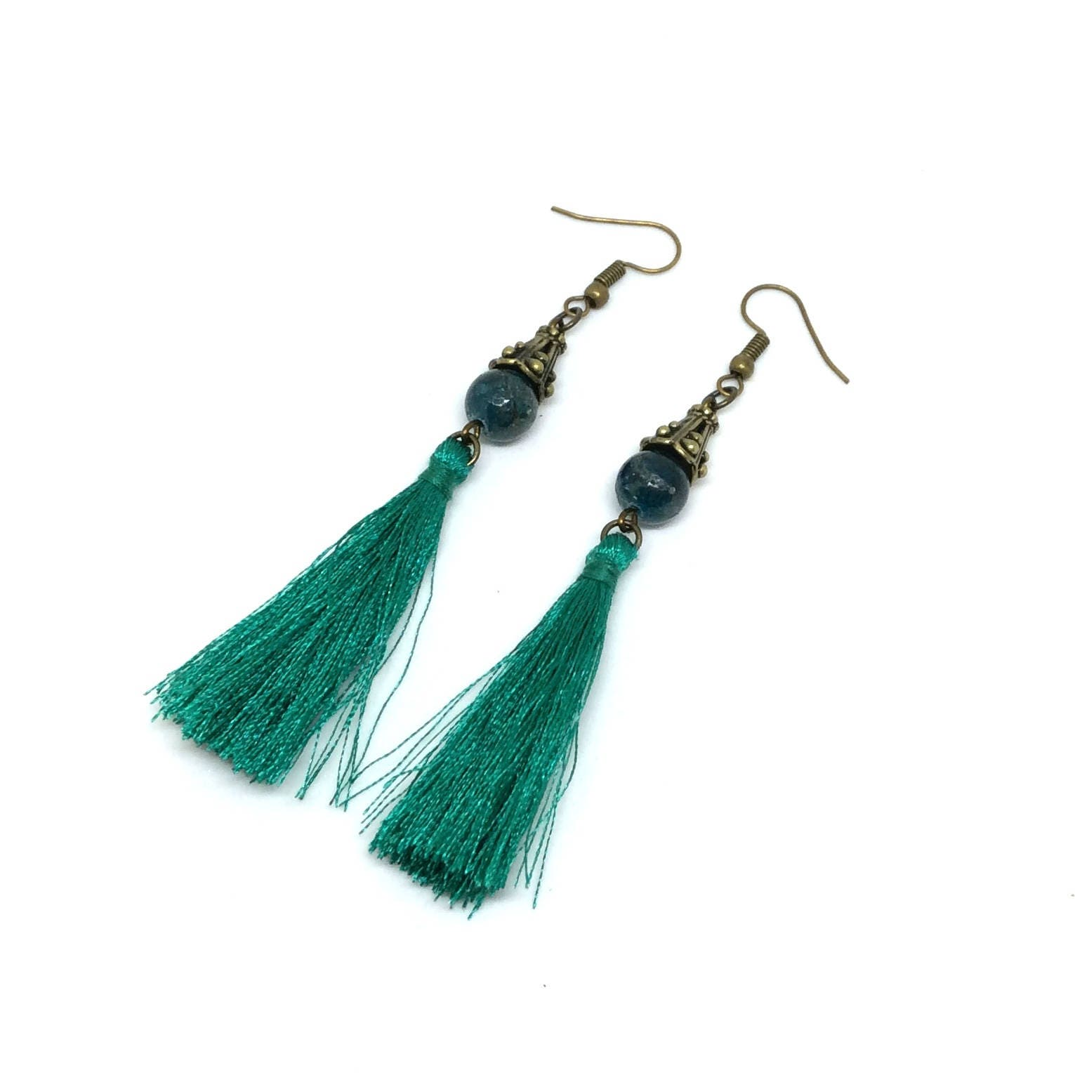 loop sterling earrings circular nuggets apatite products handmade with silver blue wire