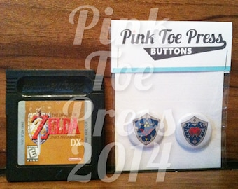 Retro Zelda Hylian Shield Buttons Ocarina of Time Majora's Mask