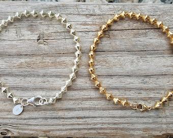 bicono argento bracelet/925 argento bicono Bracciale riempito bicono braccialetto di diamanti forma argento perle del braccialetto oro / /