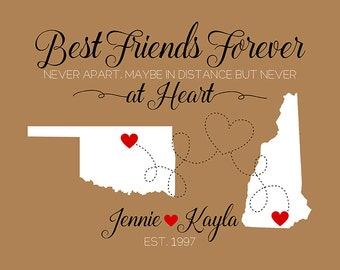 Friendship Art, Custom Gift for Friends, Choose Two Maps, Names, Personalized Colors - Tan, Red, Black, Home Decor, Brown Decor | WF160